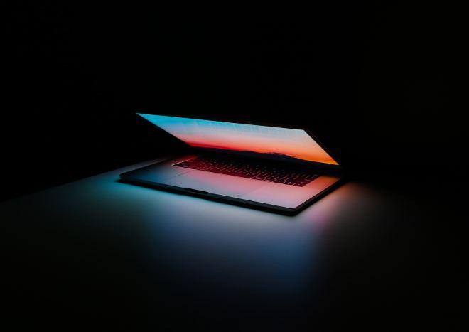 Half-opened laptop