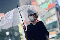 Woman holding a transparent umbrella
