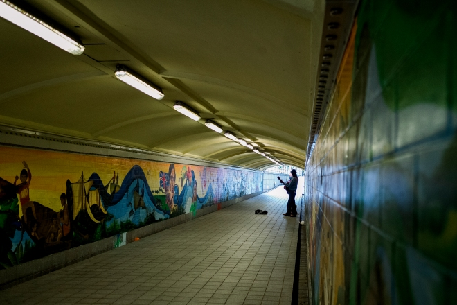 Busker in an underpass (Photo by Ng Shi Wen)